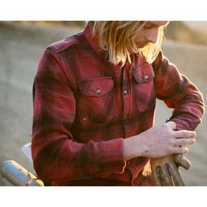 IRON & RESIN Rockland Flannel Shirt in Oxblood Sm